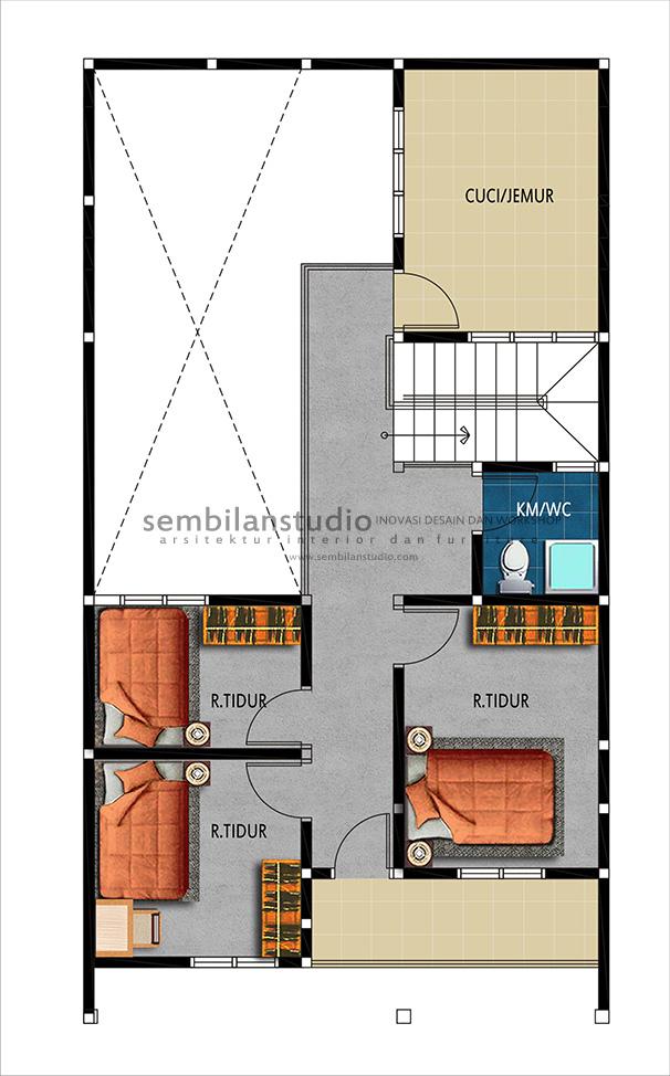 denah renovasi lantai 2 pengembangan rumah minimalis
