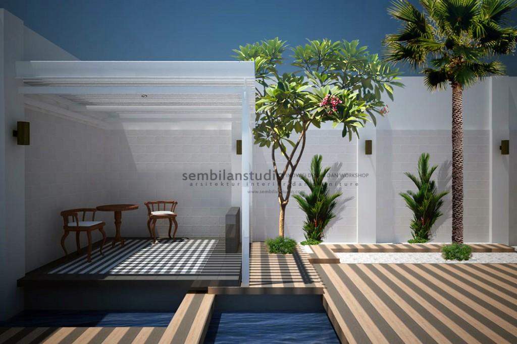 gazebo desain minimalis di taman belakang dengan kolam ikan