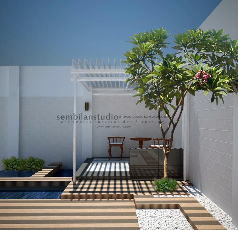 gazebo minimalis dengan kolam di taman belakang
