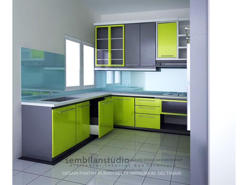 dapur desain minimalis dengan kombinasi warna  tidak lebih dari 3 warna