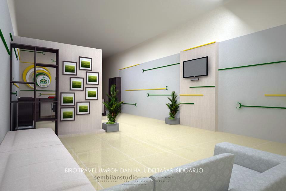 tampak ruang tunggu dengan backdrop tv LED dan display foto kegiatan
