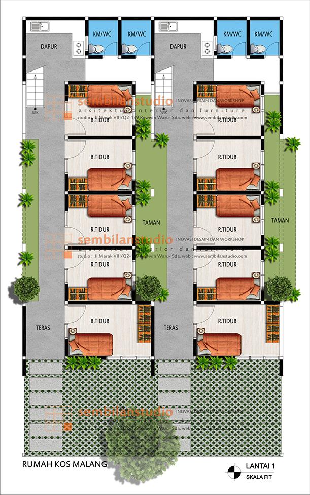 denah 2 blok rumah kos yang berdempetan namun terkesan lebih luas dan longgar