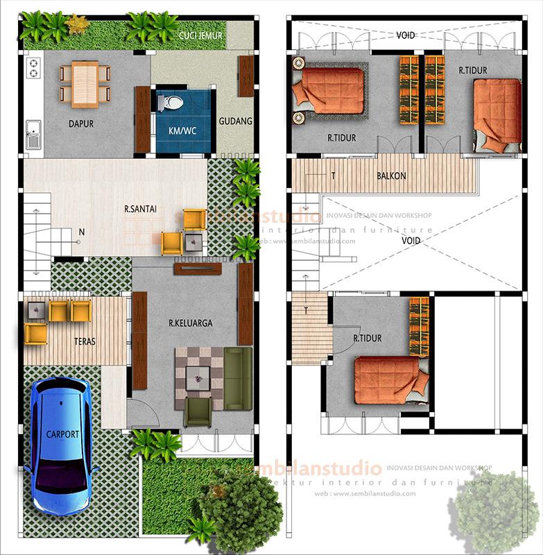 Rumah Minimalis 2 Lantai Void ars desain rumah tinggal berlantai mezanine di lahan 7a 15