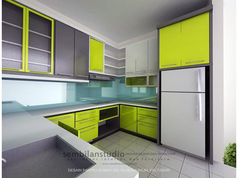 Kabinet Dapur  Hijau  Putih Desainrumahid com