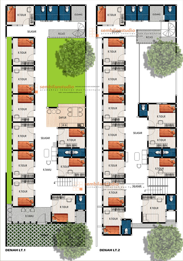 ARS Desain Tropis Rumah Kos Di Lahan Memanjang 10—30 di Kalimantan